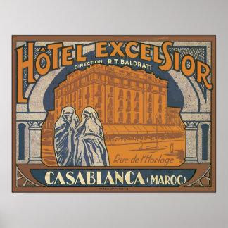 Maravalhas Casablanca do hotel (Maroc), vintage Poster