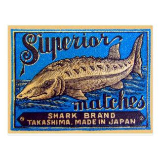 Marca superior do tubarão dos fósforos retros do cartão postal