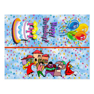 Marcador do cartão do feliz aniversario cartao postal