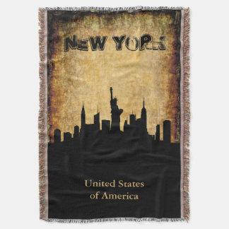Marco da skyline de New York do fundo do Grunge Lençol