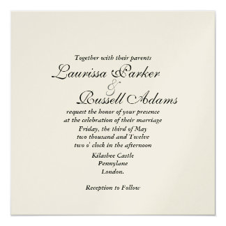 Marfim do damasco metálico & convite de casamento