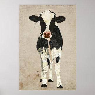 Marfim & poster preto da arte da vaca