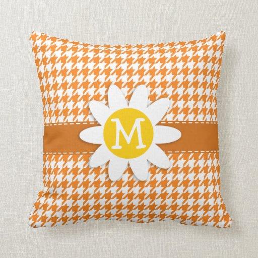Margarida bonito na laranja de cádmio Houndstooth Travesseiros De Decoração