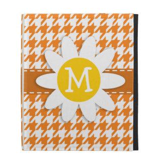 Margarida bonito na laranja de cádmio Houndstooth