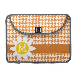 Margarida bonito na laranja de cádmio Houndstooth Bolsa Para MacBook