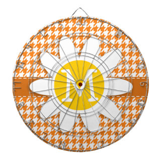 Margarida bonito na laranja de cádmio Houndstooth Jogo De Dardos