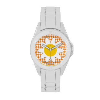 Margarida bonito na laranja de cádmio Houndstooth Relógios