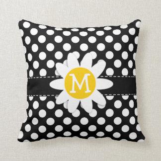 Margarida em bolinhas preto e branco travesseiro de decoração
