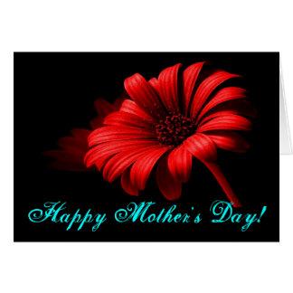 Margarida vermelha brilhante do dia das mães feliz cartão comemorativo