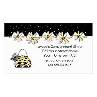 Margaridas amarelas e pretas que compram o cartão  cartões de visita