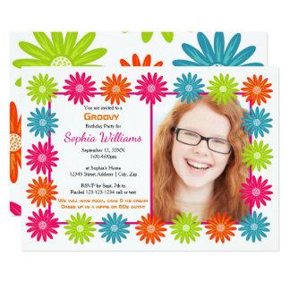 Margaridas coloridas - convite do aniversário