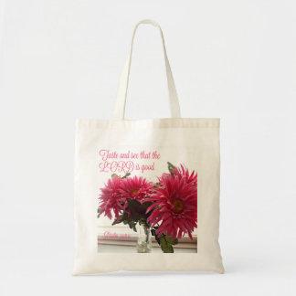 Margaridas cor-de-rosa do bolsa/saco com escritura bolsa tote