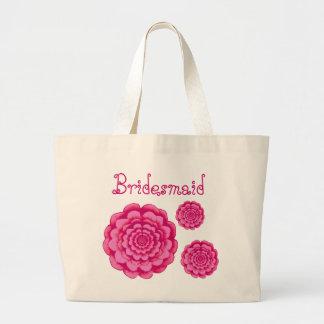 Margaridas do rosa do saco da dama de honra sacola tote jumbo