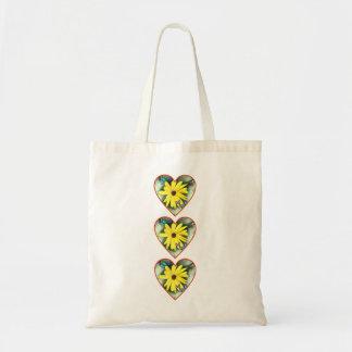 Margaridas e borboletas triplas dos corações bolsa tote