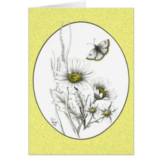 Margaridas e cartão da borboleta