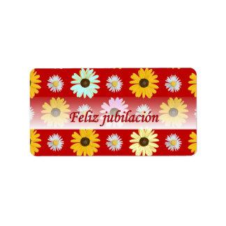 Margaridas espanholas da aposentadoria na etiqueta etiqueta de endereço