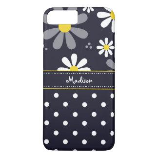 Margaridas femininos e bolinhas da modificação com capa iPhone 8 plus/7 plus