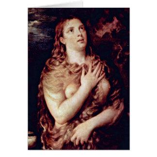 Maria Madalena do penitente por Titian Cartão Comemorativo