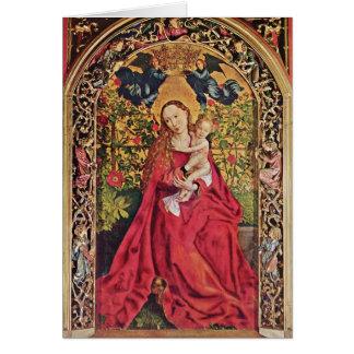 Maria no rosa por Martin Schongauer Cartão Comemorativo