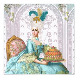 Marie Antoinette deixou-os comer o bolo Convite Quadrado 13.35 X 13.35cm