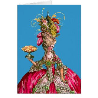 Marie Antoinette e pavão Cartão Comemorativo