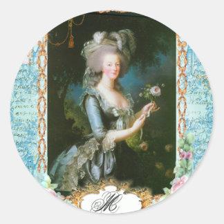 Marie Antoinette e rosas cor-de-rosa Adesivos