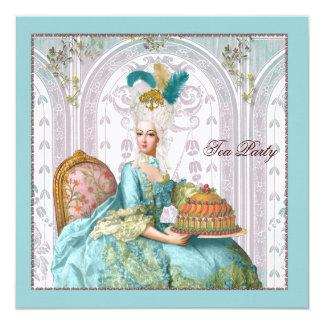 "Marie Antoinette in Aqua with Cake 5.25"" Square Invitation Card"