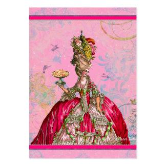 Marie Antoinette no rosa com pavão Cartão De Visita Grande