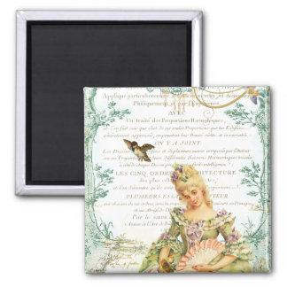 Marie Antoinette & pardal Ímã Quadrado