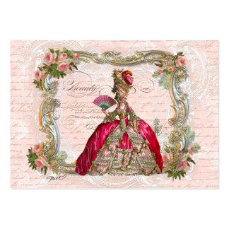 Marie Antoinette & rosas cor-de-rosa Cartões De Visitas
