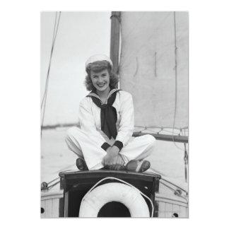 Marinheiro da mulher convite 12.7 x 17.78cm