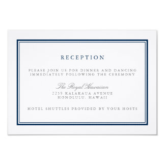 Marinho clássico e recepção de casamento branca convite 8.89 x 12.7cm