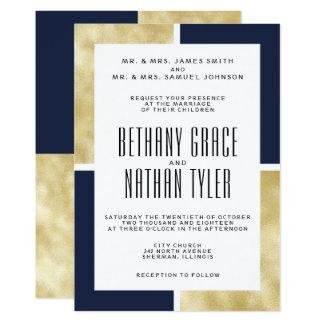 Marinho + Convite clássico do casamento do ouro
