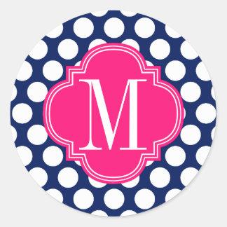 Marinho feminino & pontos grandes cor-de-rosa adesivo