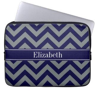 Marinho, monograma do nome dos azuis marinhos do bolsas e capas de notebook