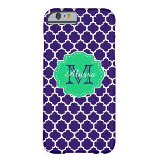 Marinho Quatrefoil verde personalizado Capa Barely There Para iPhone 6