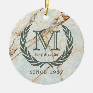 Mármore bonito do monograma clássico da folha do ornamento de cerâmica