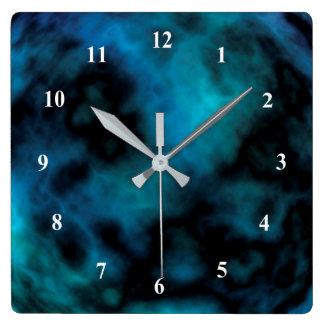 Mármore cósmico do azul do falso relógio quadrado