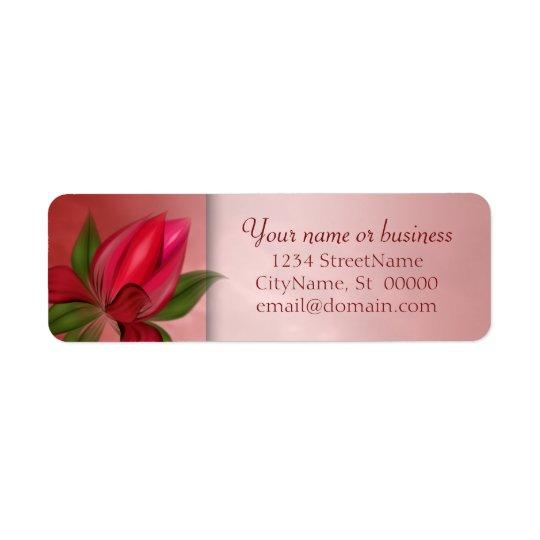 Mármore floral vermelho e cor-de-rosa etiqueta endereço de retorno