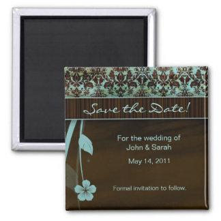 Marrom azul do damasco floral da imã salve a data ímã quadrado