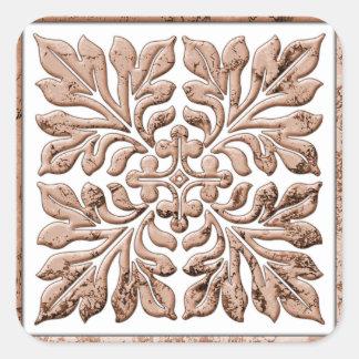 Marrom desvanecido legal do azulejo antigo do adesivo quadrado