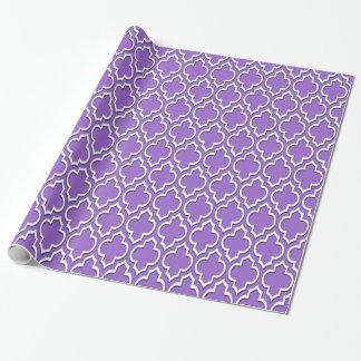 Marroquino roxo Amethyst Quatrefoil #7DS do XL do Papel De Presente
