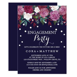 Marsala & Borgonha florais na festa de noivado do Convite 12.7 X 17.78cm