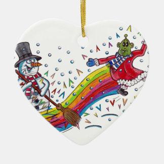 Martin o Marciano encontra nevado o boneco de neve Ornamento De Cerâmica Coração