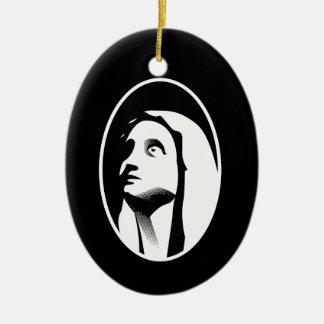 Mary Ornamento De Cerâmica Oval