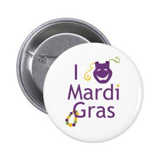 Máscara eu amo o botão do carnaval bóton redondo 5.08cm