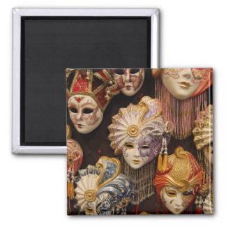 Máscaras de Carnivale em Veneza Italia Ímã Quadrado