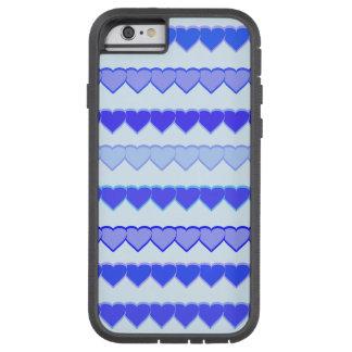 Máscaras de fileiras azuis do coração capa tough xtreme para iPhone 6