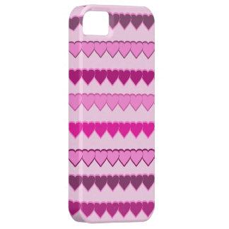 Máscaras de fileiras cor-de-rosa do coração capa barely there para iPhone 5