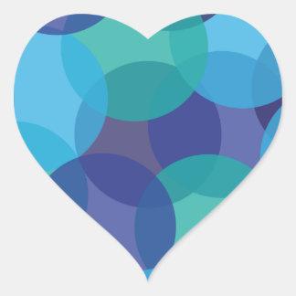 Máscaras do azul do verde adesivo em forma de coração